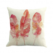 Clearance! ZOMUSA Feather Painting Linen Sofa Home Decor Cover Pillow Case