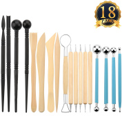 SUBANG 18 Pieces Ball Stylus Tools Dotting Sculpting Modelling Tools Wooden Clay Tools for Clay Sculpture Pottery Modelling