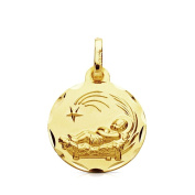 9k gold medal Manger Child 16mm. [AB3285GR] - Customizable - RECORDING INCLUDED IN PRICE