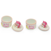 Baby Girl Owl Ceramic Tooth and Curl Keepsake Boxes