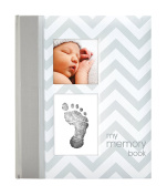 Pearhead Chevron Baby Memory Book with Clean Touch Ink Pad to Create Handprint or Footprint, Spanish Version, Grey