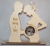 """WE'RE HAVING A BABY"" COUPLES BABY SCAN PHOTO KEEPSAKE PHOTO FRAME WITH ACRYLIC COVER FOR PHOTOGRAPH."