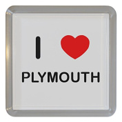 I Love Plymouth - Clear Plastic Tea Coaster / Beer Mat