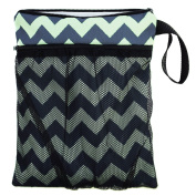 Bag for dirty clean nappies Wet/Dry Bag Cosmetic Toiletry Organiser Cosmetic Bag Portable Travel Storage Zig Zag [063]