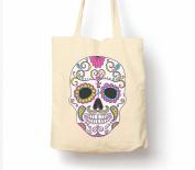 Mexican Day Of The Dead Dia De Muertos Sugar Skull - Tote Bag, Natural Shopping Bag, Environmentally Friendly Eco Friendly