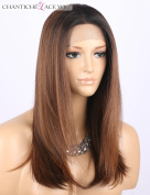 Chantiche Cheap Ombre Brown Wig Dark Rooted Medium Length Straight Machine Made Synthetic Hair Wigs for Women Heat Resistant