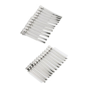 MagiDeal 24 Pieces Stainless Steel Non-Slip Hairdressing Sectioning Clamp Salon Clip Grip Hair Styling Accessories