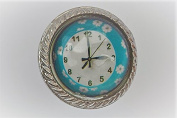 Flower Clock With Light Blue Boarder With Flowers Drawer Door Knob Vintage Shabby Chic Cupboard Drawer Pull Handle