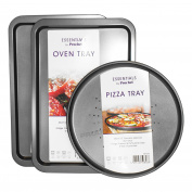 3 pc Prochef Carbon Steel Large Non-Stick Baking Trays Set Pizza Oven Cooking