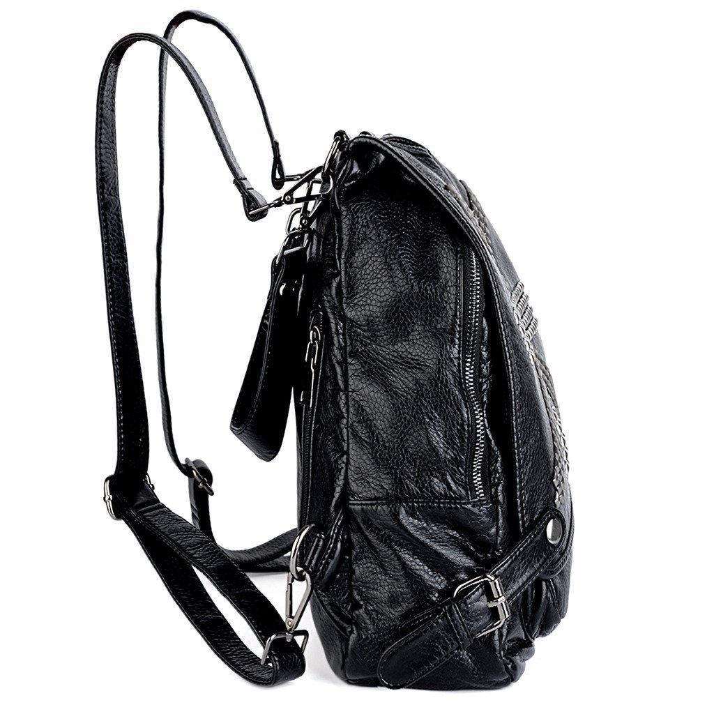 26c996f70a0 UTO Women Backpack Union Jack UK Flag Rivet Studded PU Washed Leather Purse  Convertible Ladies Rucksack Shoulder Bag Black