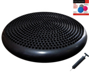 Air Stability Wobble Cushion with Pump, Black, 35cm/14in Diameter, Balance Disc