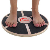 Premium Quality WOODEN BALANCE BOARD By Trained, Non-Slip Surface, Portable, Ideal For Fitness, Yoga & Board Sports, Improves Balance & Motor Skills, Bonus Yoga Belt Strap & Stretching Guide