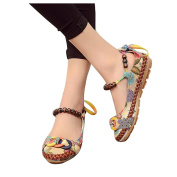 Ethnic Shoes, Hometom Women Ethnic Beading Round Toe Colourful Embroidered Cotton Shoes (7.5