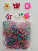 1800 Mixed Colour Glitter Loom Rubber Bands Refill & 48 S Clips & 6 Charms