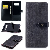 Wallet Leather Flip Case Cover for Samsung Galaxy Note 8 (16cm ), Crocodile Grain Case with Phone Wrist & Card Holder, Embedded Durable Buckle Kickstand case for Galaxy Note 8 (2017)-Grey