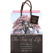 Tree of Life Blossoms Pink and Brown Small Tissue Paper and Gift Bags with Handles 3 Pack