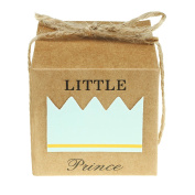 vLoveLife 50pcs Turquoise Blue LITTLE PRINCESS Favour Gift Boxes + 50pcs Free Natural Jute Twine Cute Kraft Paper Gift Candy Box Baby Shower Birthday Party Favour Boxes - 5.1cm x 5.1cm x 2""
