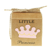 """vLoveLife 50pcs Baby Pink LITTLE PRINCESS Favour Gift Boxes + 50pcs Free Natural Jute Twine Cute Kraft Paper Gift Candy Box Baby Shower Birthday Party Favour Boxes - 5.1cm x 5.1cm x 2"""""""