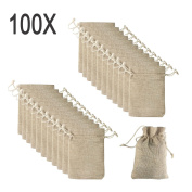 Yuxier 100piece Burlap Bags with Drawstring Gift Bags for Wedding Party ,Arts & Crafts Projects, Presents, Snacks & Jewellery,Christmas(5.5*9.4cm )
