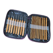 20 pcs Knitting Handle Bamboo Crochet Hooks Knitting Needles Set Weave Craft with Bag