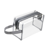 Zodaca Hanging Cosmetic Makeup Clear PVC Travel Wash Bag Holder Organiser Pouch - Grey