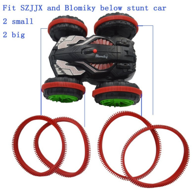 Blomiky 4PCS Red Wheel Tyre Belt Band for Rabing SZJJX Red Green Amphibious Double Sided Car Tank Vehicle SL01 Belt