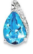IceCarats 925 Sterling Silver Rhodium Pear Swiss Blue Topaz Necklace Pendant Charm