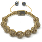 Shimla Bracelet with Gold fireballs beads made with Czech crystals size small 9 beads, adjustable size sh073srh