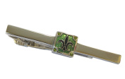 Green Enamel Fleur De Lys Tie Clip By Thompson London - Gift Boxed