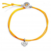Alex Woo Women's Mini Addition 925 Sterling Silver Bee Yellow Cord Adjustable Bracelet