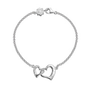 DOWER & HALL Entwined Sterling Silver Small Interlocking Hearts Chain Bracelet of 18.5cm