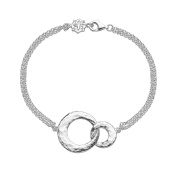 DOWER & HALL Entwined Sterling Silver Interlocking Circles Double Chain Bracelet of 18.5cm