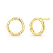 Ron Hami Women's 14ct Yellow Gold Carved Open Circle Stud Earrings
