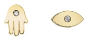 Shy By Sydney Evan 14ct Yellow Gold Plated Sterling Silver Hamsa and Evil Eye Combo Stud Earrings CS005-SY