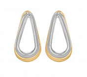 Annelise Michelson Women's 18 ct Yellow Gold Plated Bicoloured Double Ellipse Earrings