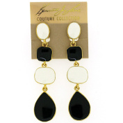 Kenneth Jay Lane Black and White Enamel Drop Earrings