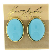 Kenneth Jay Lane Gold & Turquoise Enamel Oval Clip On Earrings