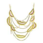 Sveva Collection Women's Smile Gold Necklace of Length 44.0cm