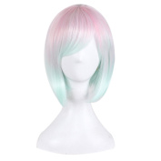MOCOO Short Bob Wigs Full Straight Cosplay Hair Colourful Synthetic Wigs for Women Party ( Pink Light Blue ) with Wig Cap JF066PK