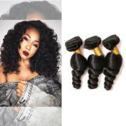 Brazilian Loose Wave 3 Bundles 100% Unprocessed Virgin Human Hair Extensions for African American Women Natural Colour 10 10 25cm