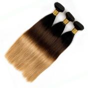 Nobel Hair 1B/4/27 Blonde Ombre Human Hair Extensions Peruvian Straight Virgin Human Hair 3 Bundles (16 16 16£