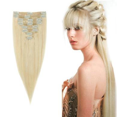 FIRSTLIKE 8CS 46cm Highlight Straight Full Head Clip in Hair Extensions 18 Clips Women Lady Human Hair