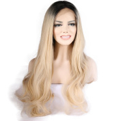 Lanting Ombre Blonde 2 Tones Synthetic Lace Front Wig Dark Roots Long Beauty Wave Silver Grey Hair Wigs For Women Heat Resistant Fibre Hair Half Hand Tied