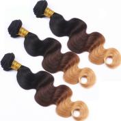 Nobel Hair Ombre Human Hair Extensions Colour 1B/4/27 Blonde Peruvian Body Wave Hair Weave Virgin Human Hair 3 Bundles