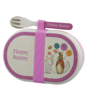 Beatrix Potter Flopsy Organic Bamboo Snack Box with Cutlery Set, Multi-Colour