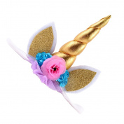 MagiDeal Kids Baby Sequin Flower Unicorn Ears Horn Headbands Hair Band Party Decorations - Gold