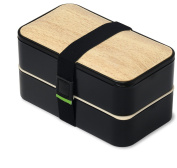 PuTwo Lunch Box 2 Tier Microwave Safe BPA-Free All-in-One Stackable Bento Box - Black