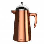 bonVIVO Aromo, Double-Wall Thermal Coffee Maker, Stainless Steel With Copper Chrome Finish, Cafetière For Full-Bodied Coffee, Free Measuring Spoon And Replacement Filter, For 8 Cups
