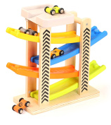 Toys of Wood Oxford Zig Zag Car Slide with 4 Cars & Roof Top Car Park Playsets