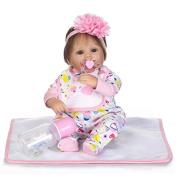 Terabithia 43cm Cute Alive Collectible Newborn Preemie Baby Girl Dolls Headband Pink Flower